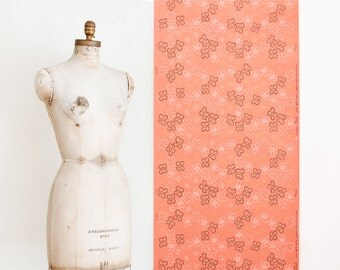 Vintage Wallpaper Roll on Matt Peach Background / Shimmery Gold Accents - Mid Century