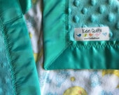 Lil' Lamb Baby Blankie with Handle in flannel lamb print and teal Minkee