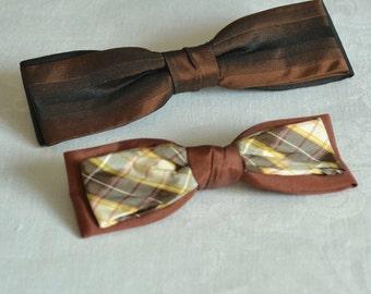 Vintage Bow Ties Brown Bow Ties Clip On Bow Ties Striped Brown Tie Plaid Brown Tie Set of Vintage Ties