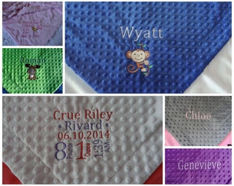 "Luxury Minky Baby Blanket   28"" x 39"" crib size -Personalization Optional"