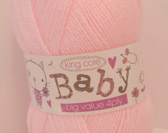 King Cole Baby Wool  4 Ply Shade 6 Colour Pink 100g Ball - UK Shop