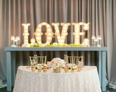 "4pc Personalized 24"" LOVE Wood Lighted Marquee Sign ......Wedding Photo Prop Pictures Party A B C D E F G H I J K L M N O P Q R S T U V W"