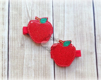 Red Apple Back to School Teacher Fruit Embroidered Felt Hair Clippies. Pick one or two. Pick Left side or Right.