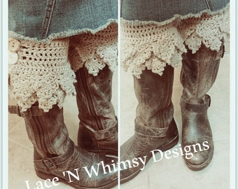 Instant Download Adjustable Modest Crochet Boot Cuffs Ankle Cuffs Boot Bracelet Bling Leg Warmers Pattern Teen Adult Plus Size All Sizes
