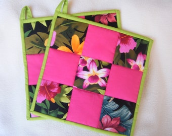 Beautiful Large Nine Square Hawaiian Quilted Potholders - Set of 2 - HANDMADE BY ME