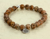 Tibetan Agate Stacking Bracelet with Hill Tribe Lotus Charm, Stretch Bracelet, Sterling Silver, Lotus Charm Bracelet