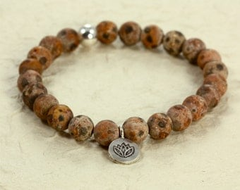 Tibetan Agate Stacking Bracelet with Hill Tribe Lotus Charm, Stretch Bracelet, Sterling Silver, Lotus Charm Bracelet, Agate Bracelet