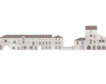 west elevation of the Place de l'Église, Monpazier — limited edition archival print