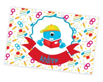 Monster Personalized Placemat - Monster School Banner School Paper Name with Name, Customized Laminated Placemat