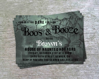 Boos and Booze Cemetary Ghost Adult Theme Halloween Party or  Birthday Party Invitation Card - Any Color