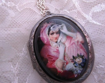 silver Venetian MASK Masquerade Gown VINTAGE Costume Locket Victorian Poll Box w/free chain