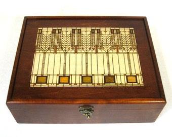 "Tree of Life Keepsake Box: Frank Lloyd Wright style Pyrography, 12"" x 9.5"""