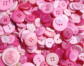 300 Mixed Pink Passion Buttons - Pink, Bright Pink, Mauve, Hot Pink, Salmon, Pearl Pink, Rose and Dark Pink, multi sizes