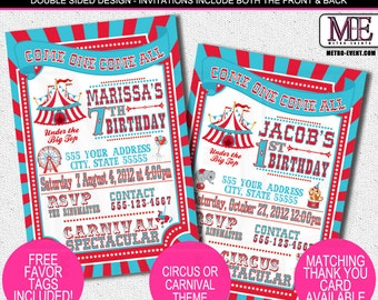 Vintage Circus Invitations, Carnival Invitations, Ticket Invitations, Carnival Invitation, Circus Invitation, Carnival Invite, Circus Invite