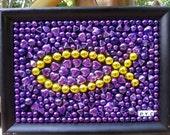 Mardi Gras bead mosaic, Christian, purple, gold, fish, art, LSU, faith, dorm, students, church, gift, graduation, inspirational, home decor