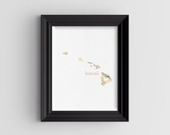 "Hawaii State Digital Art Print - INSTANT DOWNLOAD - Vintage Map - 8"" x 10"" and 5"" x 7"""