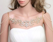 Gold Tone Vintage Victorian Epaulettes Faux Pearl Chain Rhinestone Crystal Wedding Bridal Shoulder Necklace Accessories Body Chain Draping