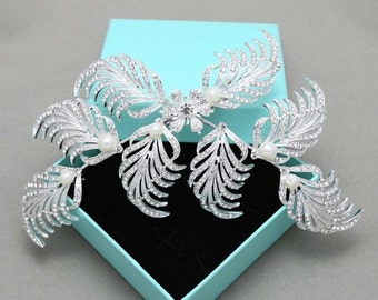 Leaf Rhinestone Crystals Hair Clips, Wedding Hair Clips, SWAROVSKI Pearl Hair Clips, Feather Crystal Clips