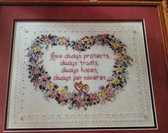 Valentine -  FLORAL HEART - Cross Stitch Pattern Only