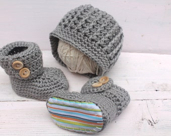 Baby Boy Take Me Home Outfit, Baby Boy Set, Baby Boy Hat and Booties