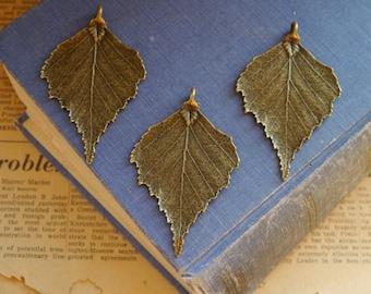 2 pcs  LARGE Antique Bronze Leaf Charms Pendants 71mm (BC2564)