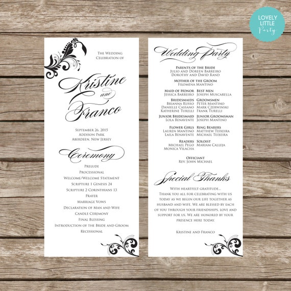 Kristine Collection Classic Wedding Program- DIY Printable - Lovely Little Party - You Choose Color