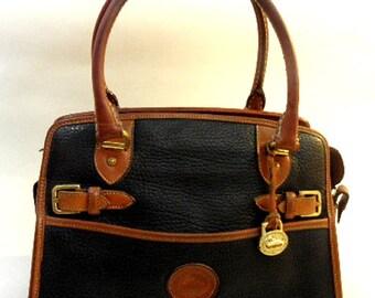 Dooney & Bourke All Weather Leather Black and British Tan Vintage Handbag Purse, circa 1980's
