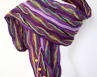 Purple Wave - Button Down Double Sided Handmade Crochet Scarf in Peruvian Highland Wool, Multi-Color, Super Warm, Extra Wide