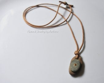 Organic jewelry - unique necklace - river stone - necklace for men or women - natural - zen