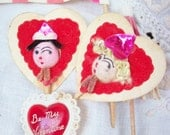 Adorable Vintage Valentine Cupcake Decorations ~ 1940's era  Pick Toppers ~ Girl n Boy on Paper ~ Lot Mixed ~ Very Nifty Fun Assortment
