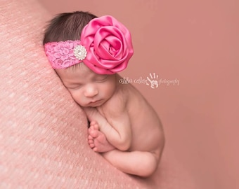 Pink headband, Baby Headband, Lace Headband- Fushia Pink Satin Rosette Lace Headband Newborn Prop Newborn-2T