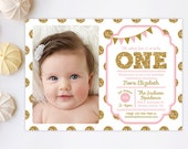 1st Birthday Invitation, Pink and Gold invitation, Polka Dot Invitaiton, Girl Birthday Invitation, Gold Glitter, Printable, Kids birthday