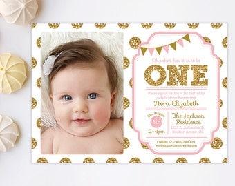 1st Birthday Invitation, Pink and Gold invitation, Polka Dot Invitaiton, Girl Birthday Invitation, Gold Glitter, Printable, Kids birthday