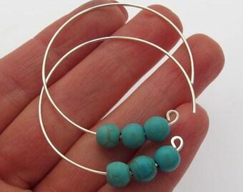 Turquoise Hoop Earrings - Sterling Silver Gemstone Hoops - Modern Open Hoops for summer - Blue Earrings - Gem earrings June birthstone