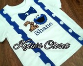 Adorable Cookie Monster-inspired 1st Birthday T-shirt for Boys - Suspenders - Bow Tie - Polka Dots - Party - Celebration - Photo Shoot