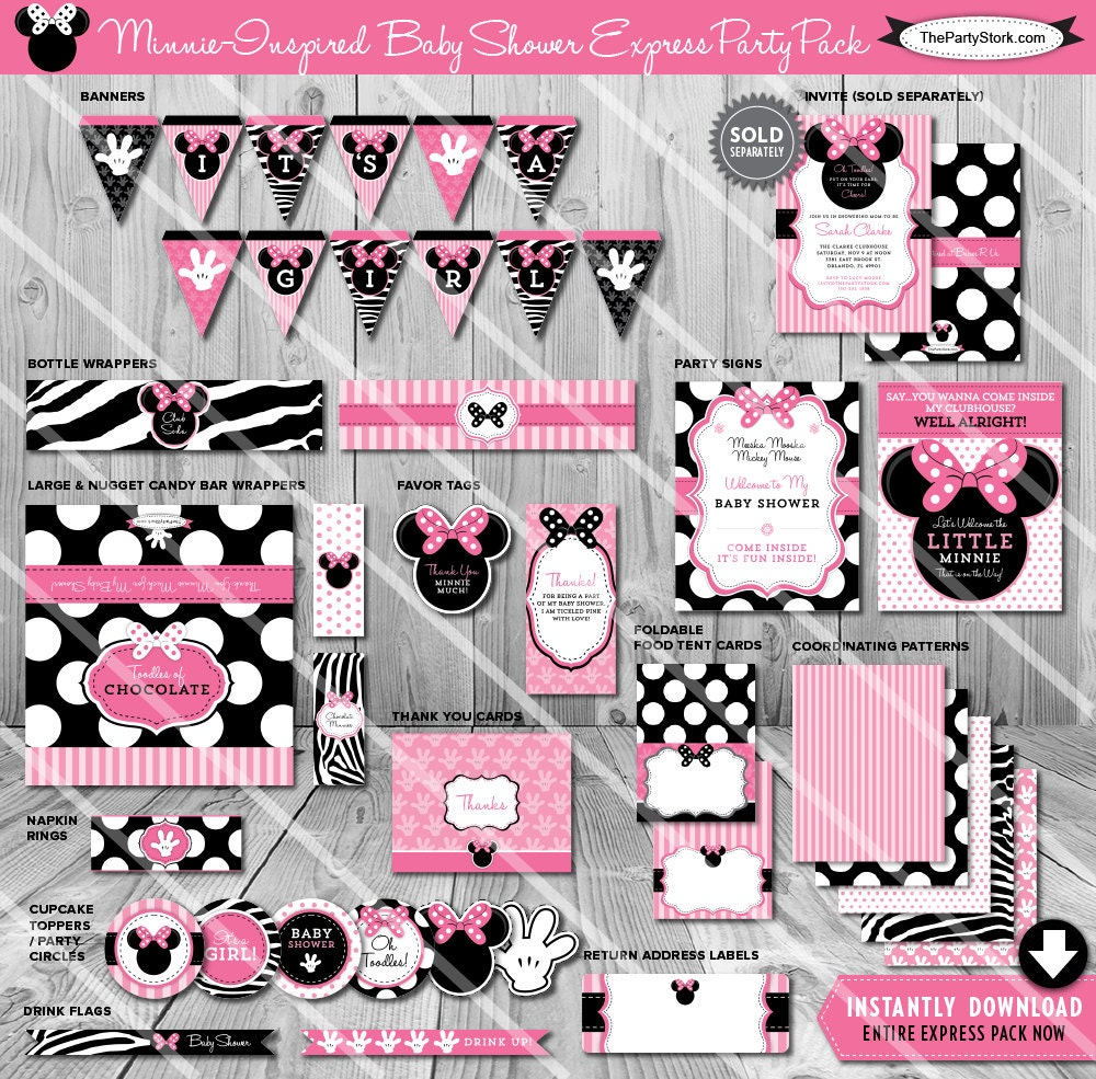 Minnie Mouse Baby Shower Party Favors: Minnie Mouse Baby Shower Party Package Printable Baby Girl