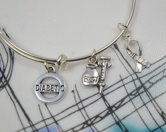 Diabetes Awareness Bracelet.... Expandable Silver Plated Bangle Bracelet....Diabetic Bracelet