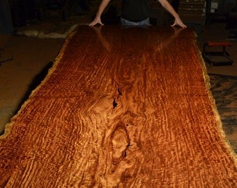 "Bubinga Slab Table, 16' 8"" long, X 62"" wide with Live Edges, 3"" thick, Finished Table Top weighs 900 lbs."