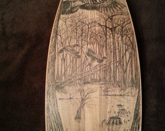 """Wooden Canoe Paddle, 45,000 year old Ancient Cypress """"Simplicity"""" with Original Pen & Ink Drawing of a Wood Duck in a Cypress Swamp Scene"""