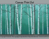 Birch tree painting - Canvas art print set, Large wall art, Teal green home decor, Aspen, Artwork, Bedroom, Office, Huge Oversized Landscape