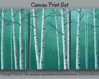 Birch tree painting Canvas art print set, Large wall art, Teal green home decor, Aspen, Artwork, Bedroom, Office, Huge Oversized Landscape