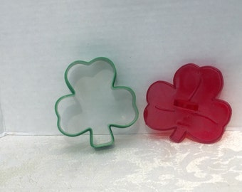 Vintage St Patrick's Day Plastic Shamrock Cookie Cutters by HRM Made in USA