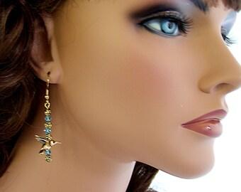 Cute Earrings Hummingbird Earrings Aqua Blue Earrings Swarovski Crystal Earrings Unique Earrings Fashion Earrings Adorable Gifts for Her