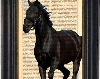 Black Horse Print on Dictionary Art Page