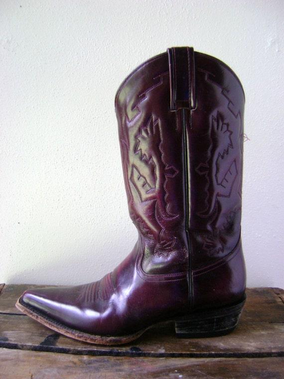 Harley Davidson Red Deer >> Dark Red Maroon Cowboy Boots Vintage 90s Western Mens Womens