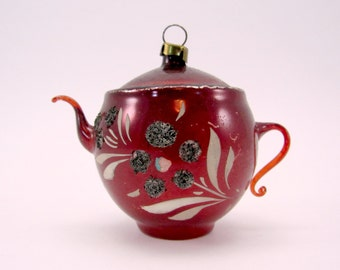 Red Vintage Glass Figural Teapot Christmas Holiday Ornament
