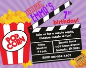 Movie Birthday Party Invitation -- Girl Birthday Invitation -- custom, digital, personalized, printable birthday invite