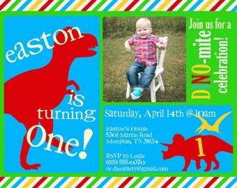 Dinosaur Birthday Party Invitation -- Dinosaur Invite -- custom, digital, printable -- Boy Birthday Party Invitations