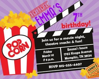 Movie Birthday Party Invitation -- Girl Birthday Invitation -- custom, digital, personalized, printable birthday invite
