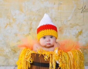 Crochet Baby Hat Candy Corn Halloween Fall Holiday  Girl Boy Photo Prop